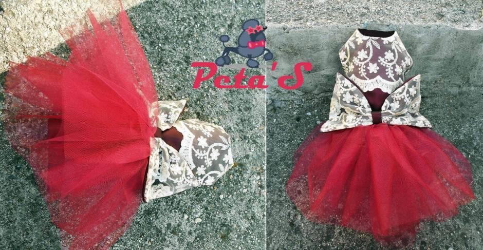rochie caini petas bordo